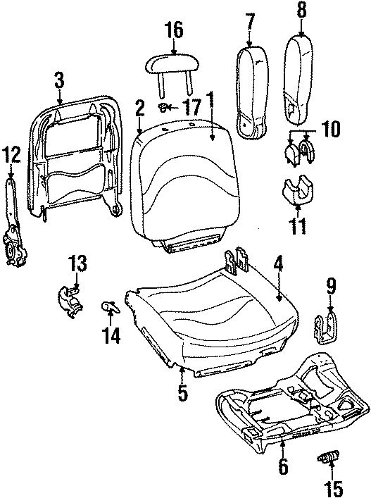 Ford Crown Victoria Seat Armrest Cover  Manual  Cloth