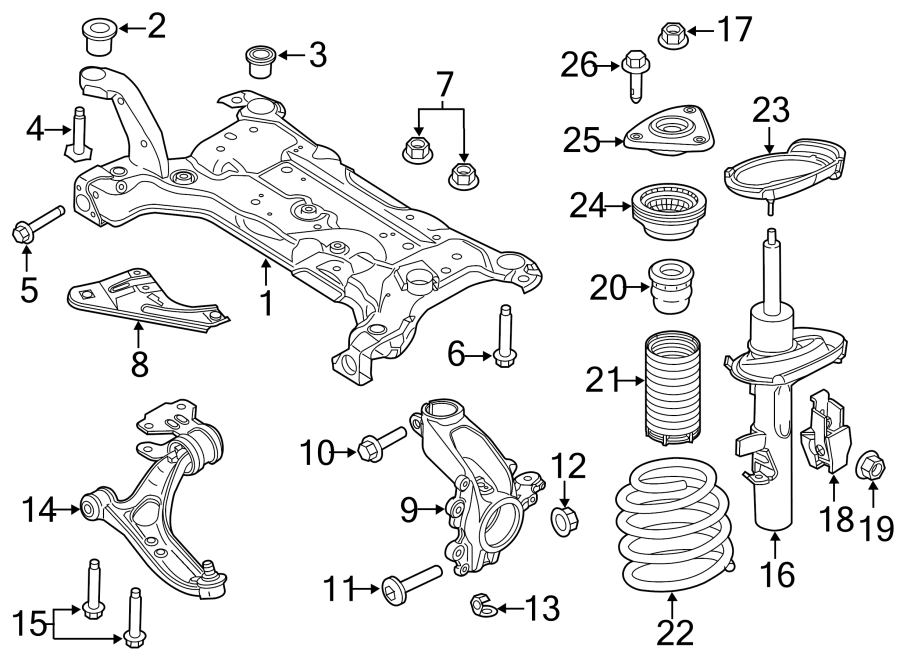 2016 Ford Focus Suspension Strut  Front   Left  Components