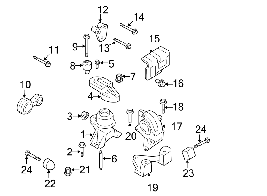 ford fusion strut  engine support rod  housing  torque