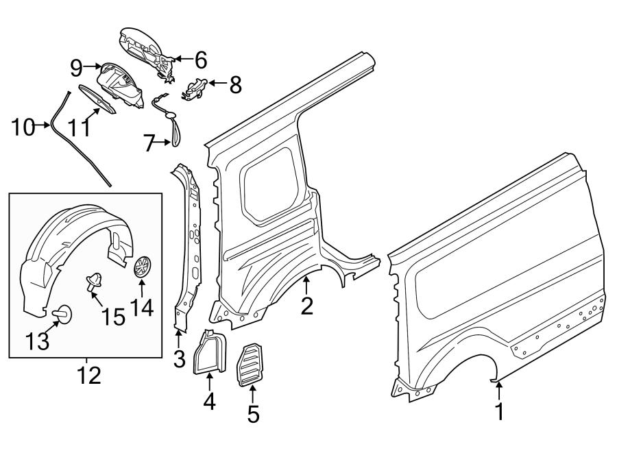 2012 Ford Fiesta End Cap Clip  Splash Shield Retainer Clip  Splash Shield Retainer Nut