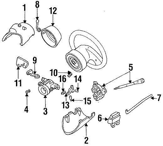1993 Ford Ranger Ignition Switch  Wheel  Tilt  Steering