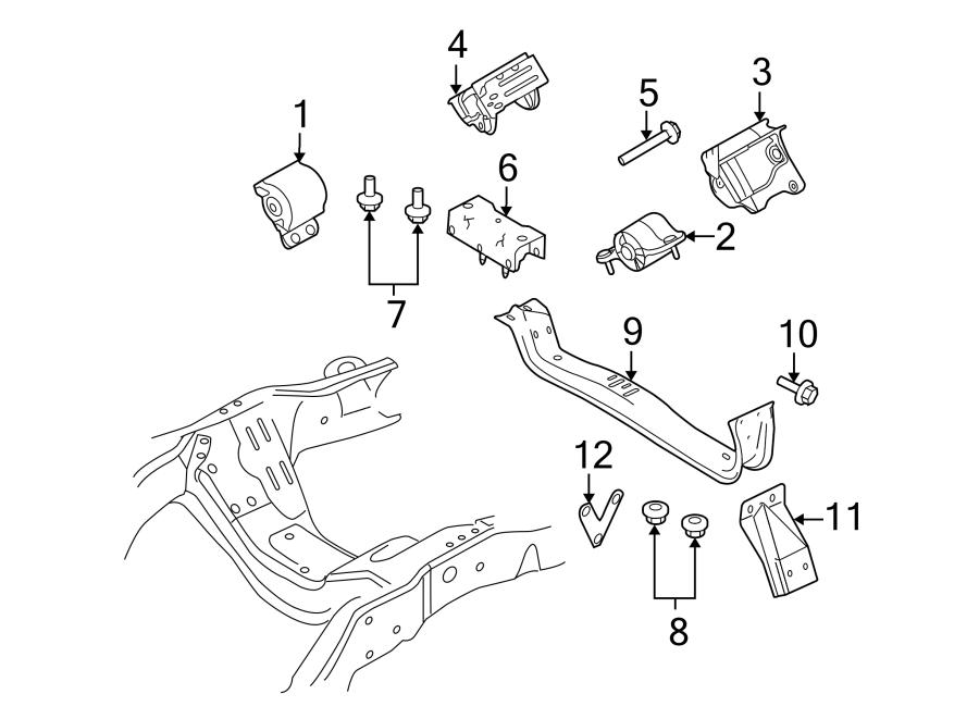 2008 ford f-250 super duty engine mount bracket  front   liter  diesel