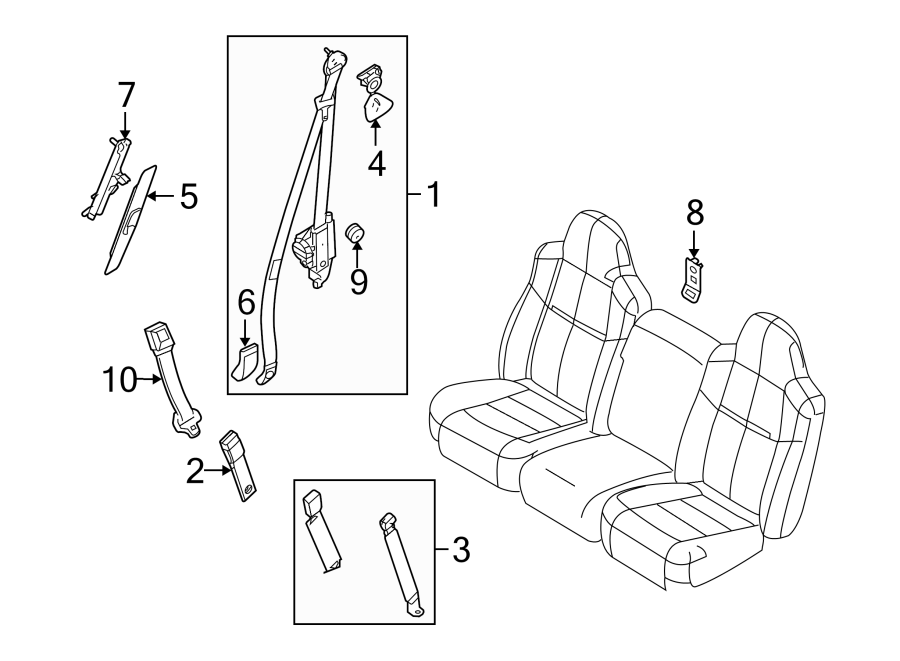 ford f-250 super duty seat belt lap and shoulder belt  rear