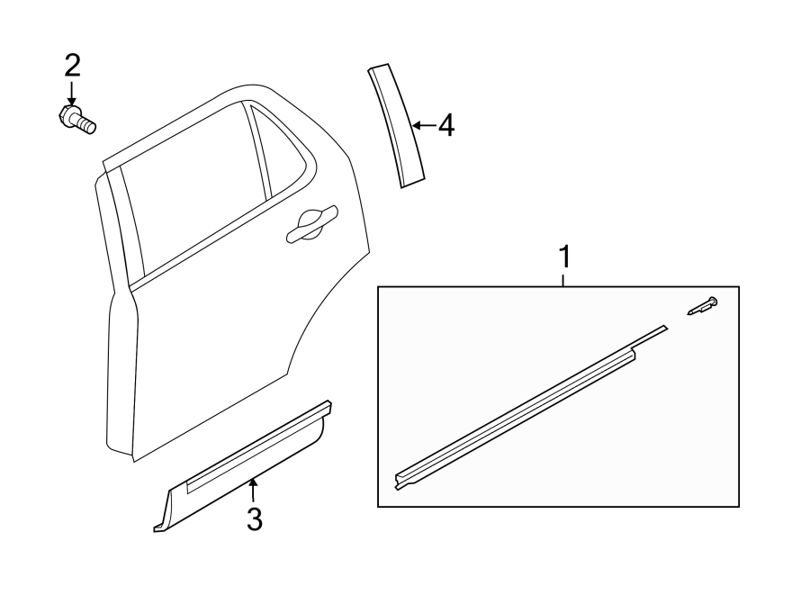 Ford Explorer Door Applique  Rear  Upper   Right  Panel