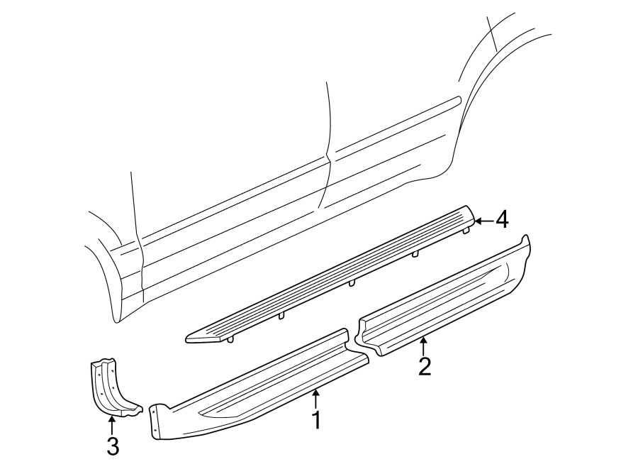 2000 Ford Explorer Support  Molding  Rocker  Bracket  Panel Reinforcement  Running Board