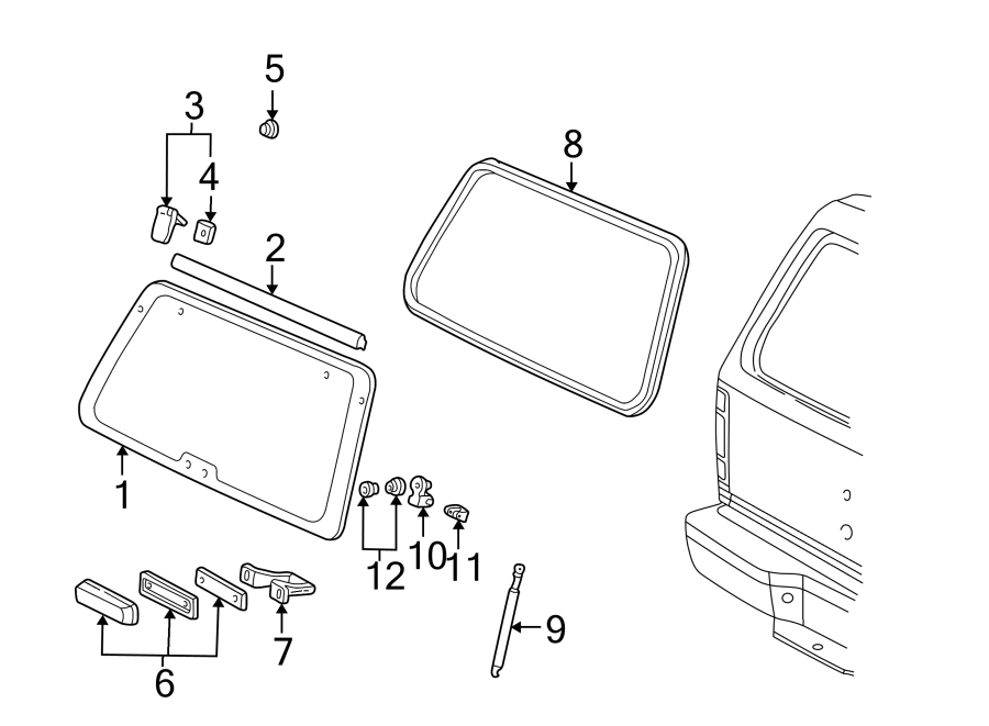 Ford Explorer Liftgate Glass Hinge  To 3  04  02  Left  Rear