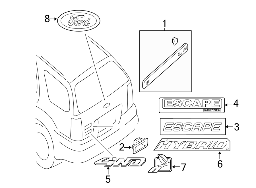 Ford Escape Hatch Emblem  4wd