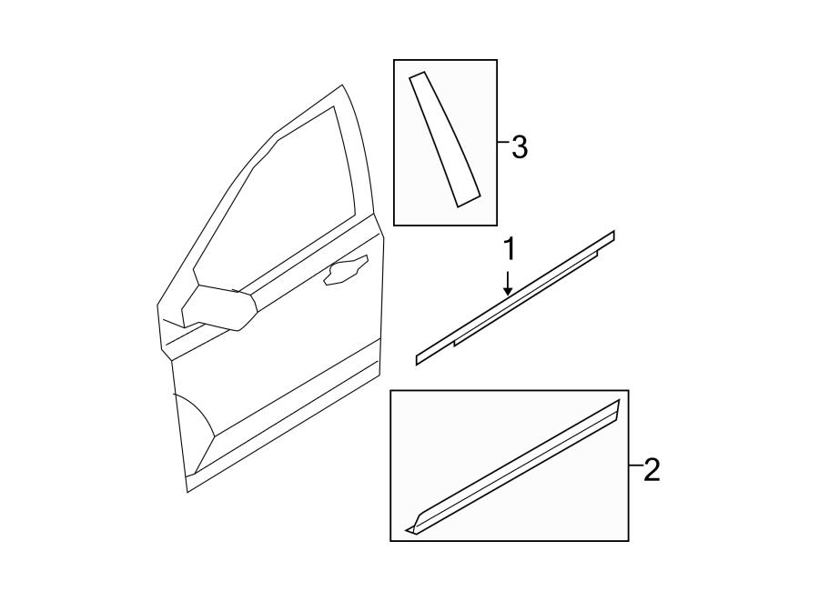 Ford Edge Door Window Belt Weatherstrip  Black  Black  To