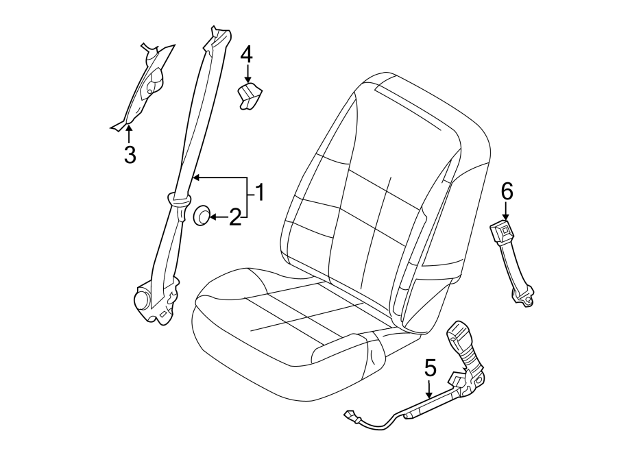 2014 Ford Edge Seat Belt Receptacle  Stone  W  Power Seats