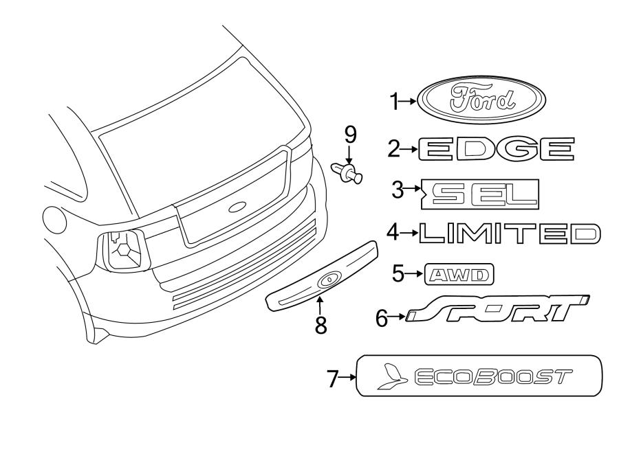 2011 ford edge liftgate finish panel rear w rear camera. Black Bedroom Furniture Sets. Home Design Ideas