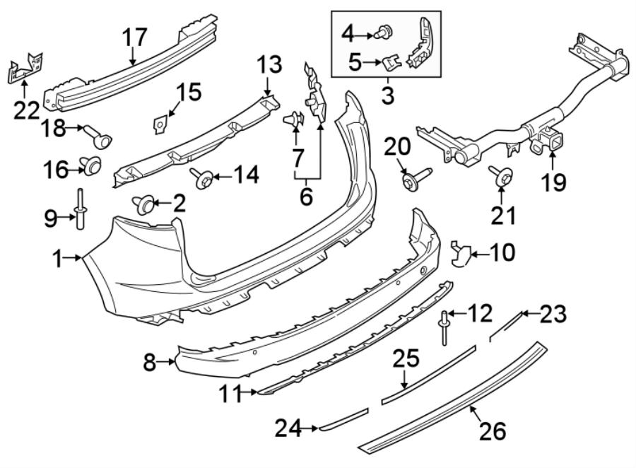 Ford Edge Bumper Impact Bar  Tow  Trim  Hooks