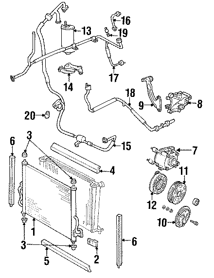 2002 ford windstar a  c refrigerant hose  front  rear