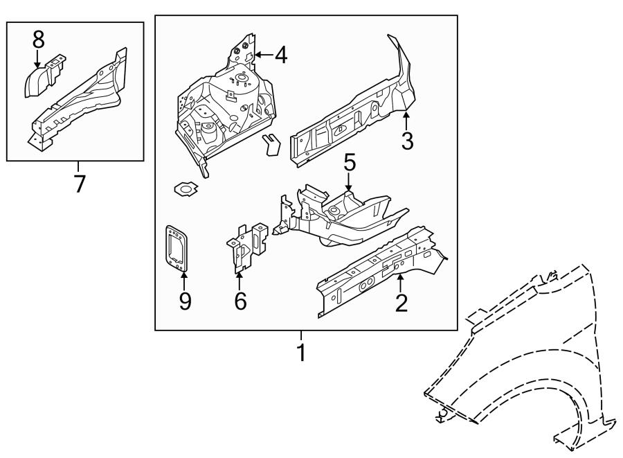 2014 Ford Fiesta Apron  Rail Assy  Front Left  Structural